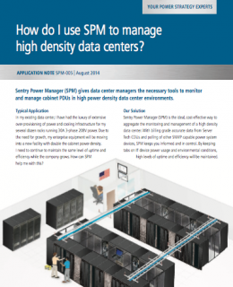 How do I use SPM to manage high density data centers?