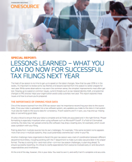 Lessons Learned – What You Can Do Now for Successful Tax Filings Next Year