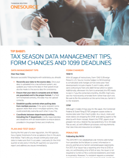 Tax Season Data Management Tips, Form Changes and 1099 Deadlines