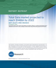 451 RESEARCH: TOTAL DATA MARKET PROJECTED TO REACH $146BN BY 2022