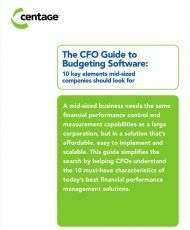 The CFO Guide to Budgeting Software: 10 key elements mid-sized companies should look for