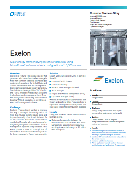 Exelon Saves Millions of Dollars by Using Micro Focus