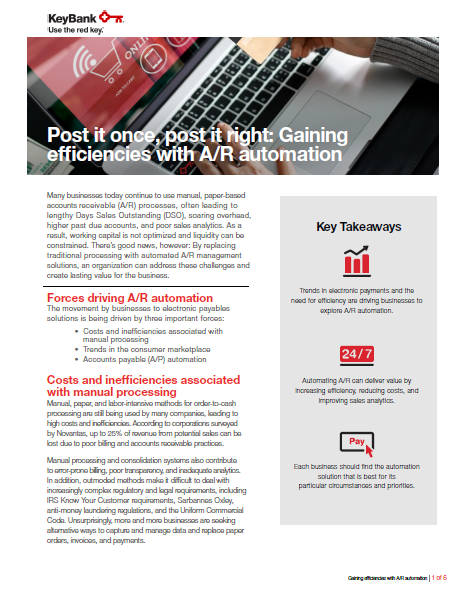 Gaining efficiencies with AR automation coverpage - Gaining efficiencies with AR automation