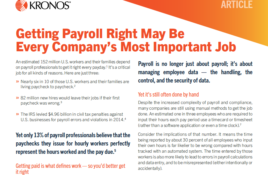 Getting Payroll Right May Be Every Companys Most Important Job coverpage - Getting Payroll Right May Be Every Companys Most Important Job