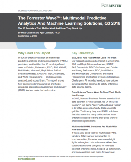 Forrester Wave Multimodal Predictive Analytics and Machine Learning Solutions cover 260x320 - The Forrester Wave™: Multimodal Predictive Analytics And Machine Learning Solutions, Q3 2018