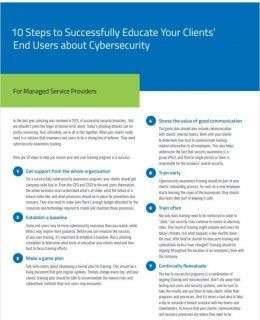 10 Steps to Successfully Educate Your Clients' End Users about Cybersecurity