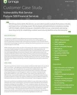 Vulnerability Risk Service - Fortune 500 Financial Services Case Study