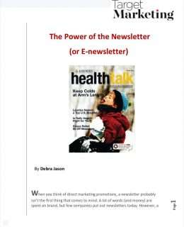 The Power of the Newsletter (or E-newsletter)