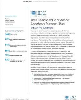 The Business Value of Adobe Experience Manager Sites