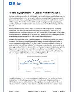 Find the Buying Window - A Case for Predictive Analytics