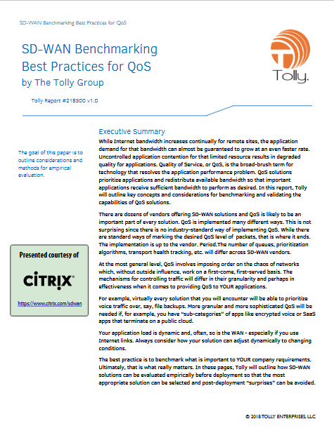 Screenshot 2019 04 16 Tolly218500BenchmarkingBestPractices SDWAN QoSv1Citrix SD WAN Benchmarking Best Practices for QoS b... - SD-WAN Benchmarking Best Practices for QoS by The Tolly Group