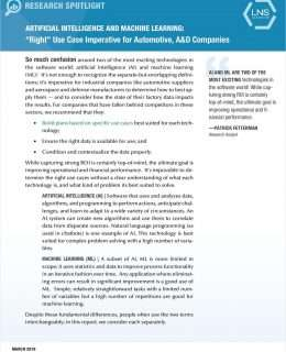 Artificial Intelligence and Machine Learning: 'Right' Use Case Imperative for Automotive, A&D Companies